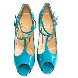 Christian Louboutin Patent Peep-Toe Heels
